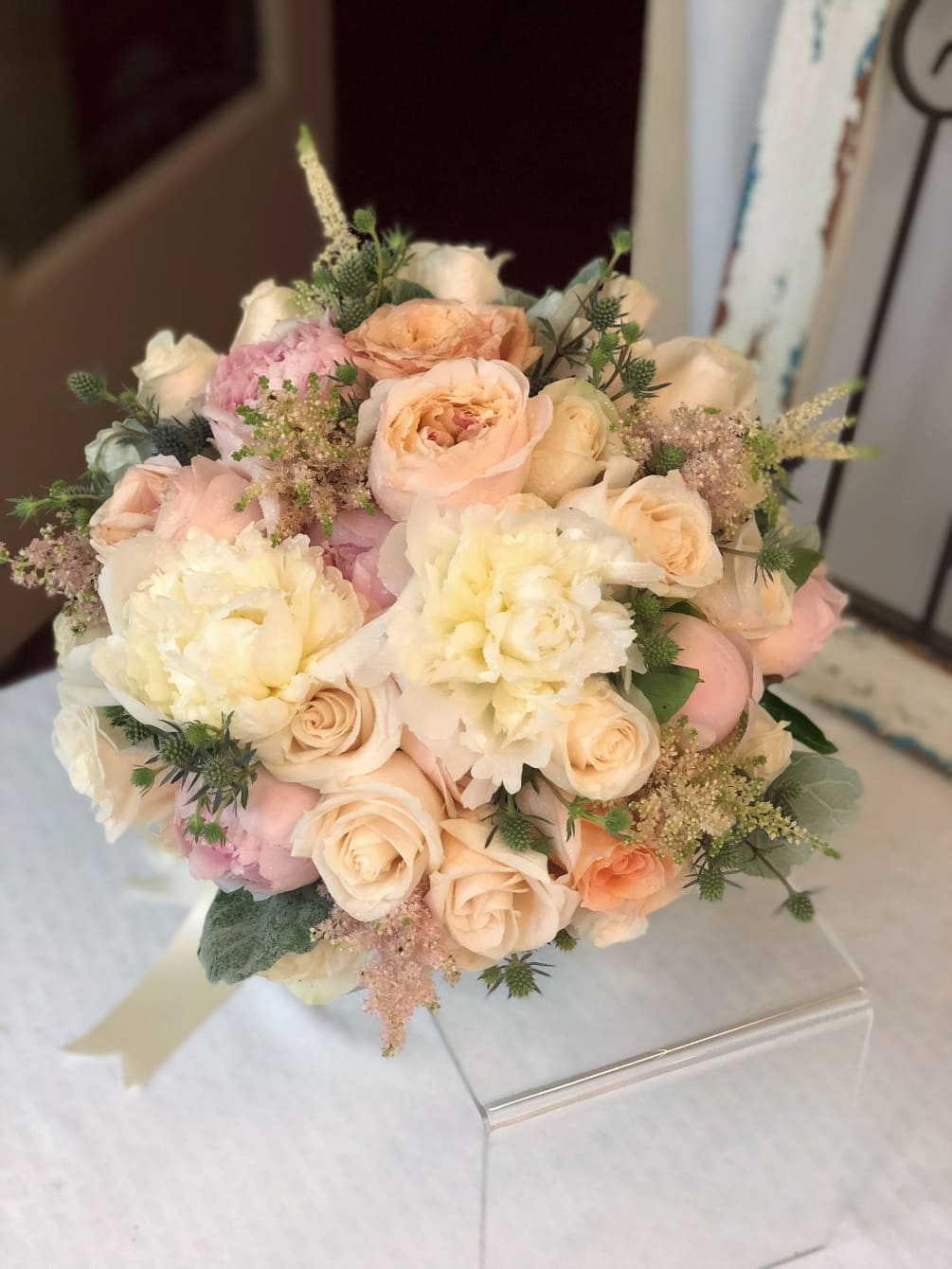 Rose Garden Style Bridal Bouquet Peach Pink White And Ivory By A Garden Floral