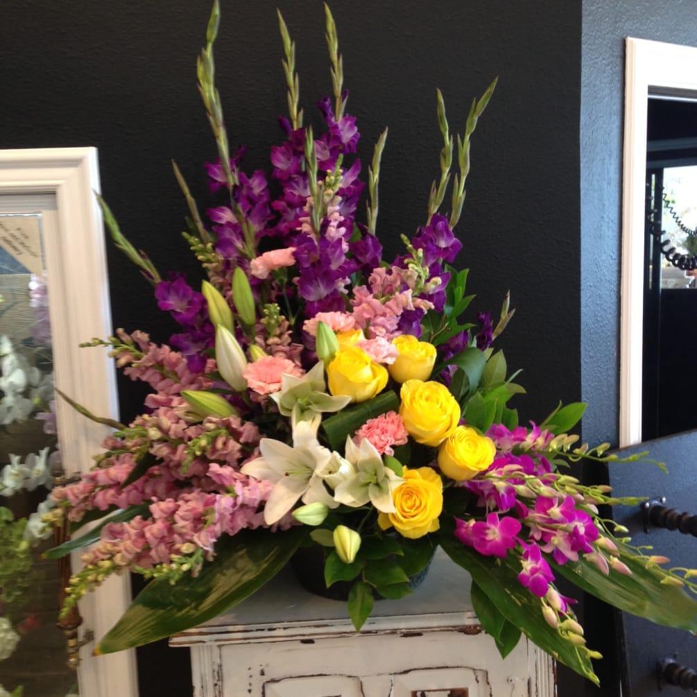 Funeral Paper Mache Arrangement By Westlake Florist