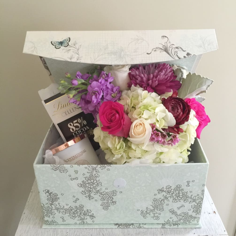 Bloom Box A Unique Gift That Is Sure To Please A Keepsake Gift Box Filled With A Mixed Vase Arrangement Chocolates And A Candle By Bloomsbury Floral Design