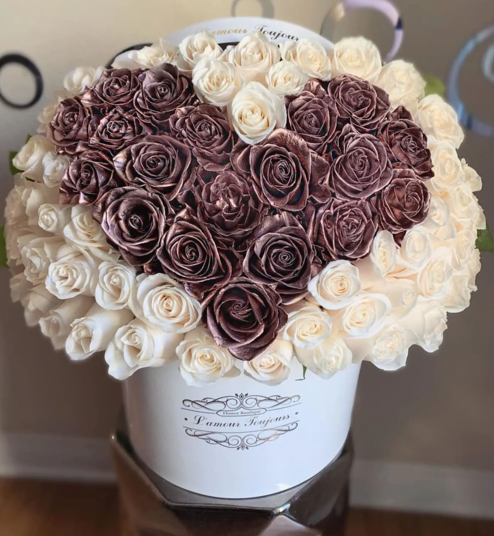 Rose Gold Heart Signature Box By L Amour Toujours Flower Boutique