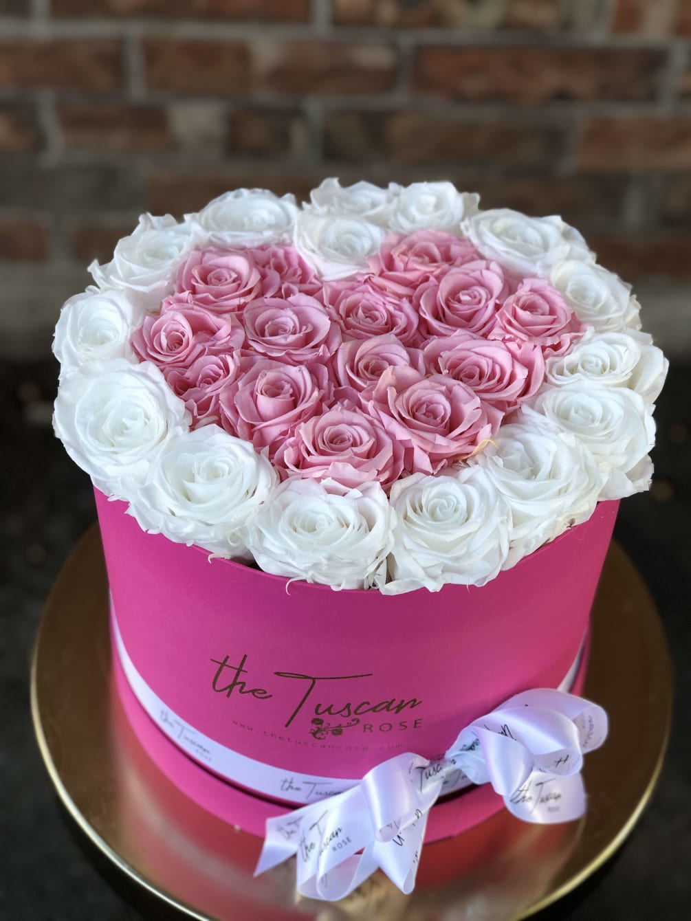 Luxury Forever Flower Bouquet Box White With Pink Rose Center By The Tuscan Rose Florist