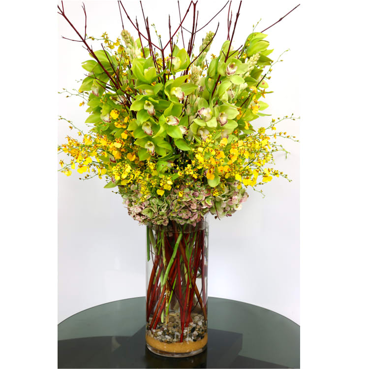 Green And Yellow Tall Orchid Vase In Redondo Beach Ca Brooke S Flowers