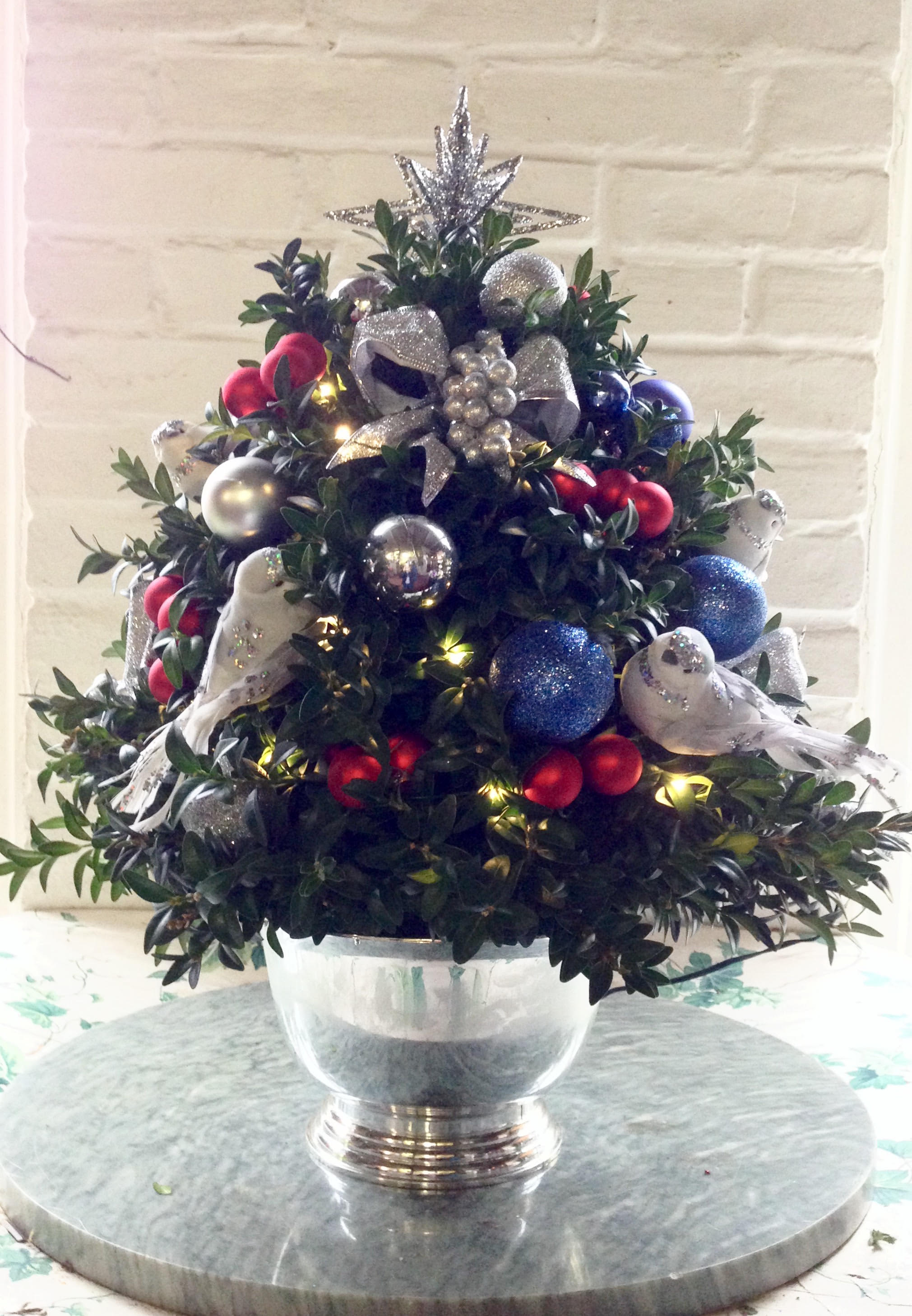 Blue and Red Christmas Tree