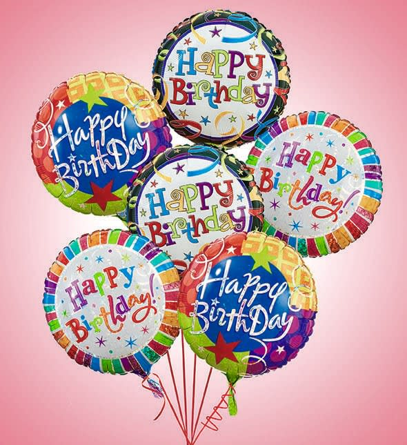 6 Happy Birthday Balloons