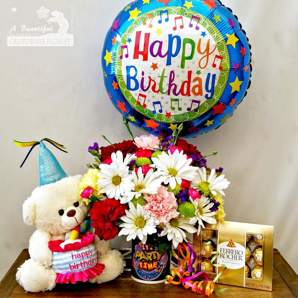 Happy Birthday Combo Flowers Bear Chocolates And Balloon In Long Beach Ca A Beautiful California Florist,Kitchen Helper Stool Ikea Hack