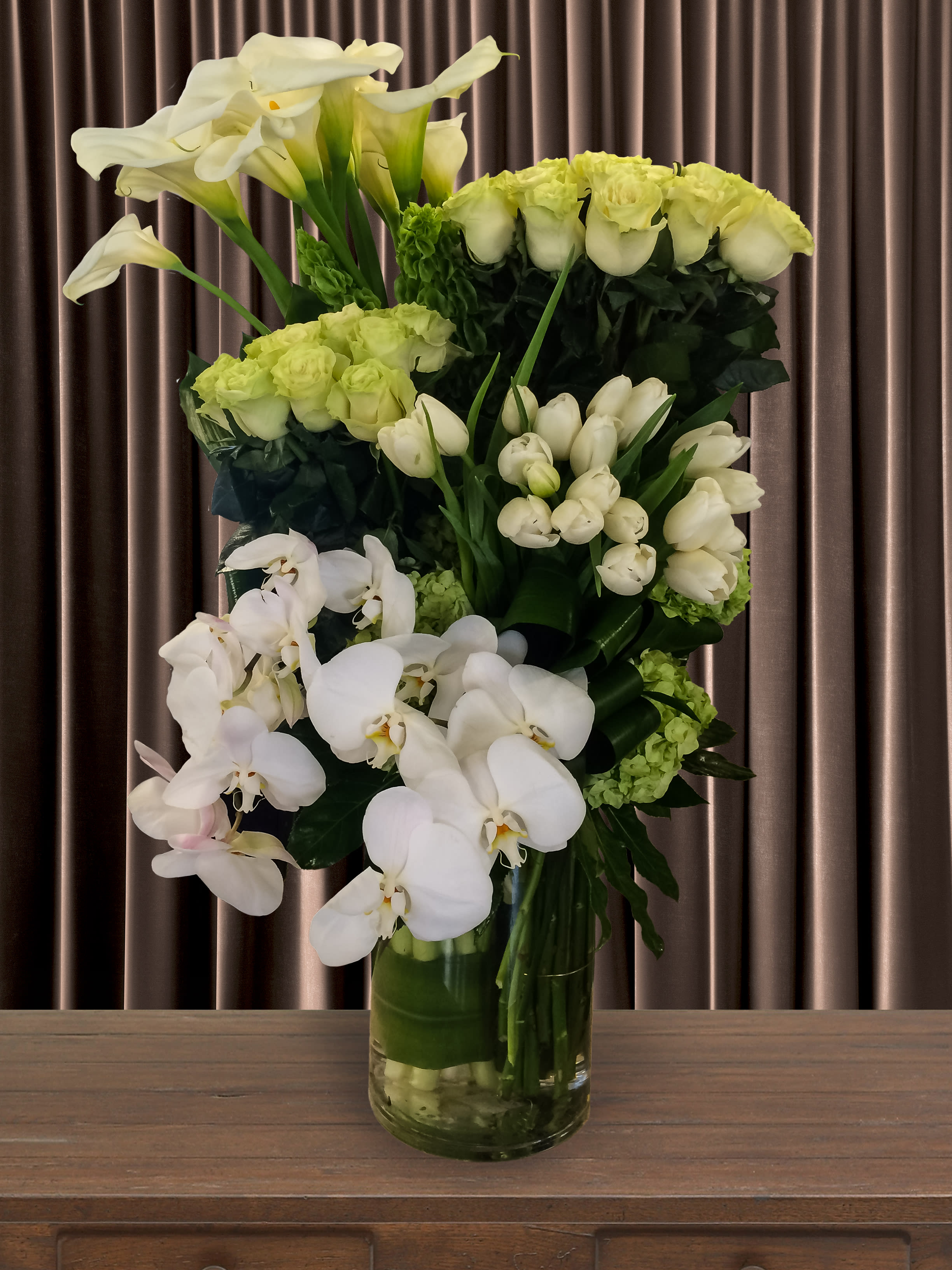 Clusters Funeral Arrangement In Cylinder Vase 48 In Pasadena Ca Duran S Flowers Open Only For Delivery