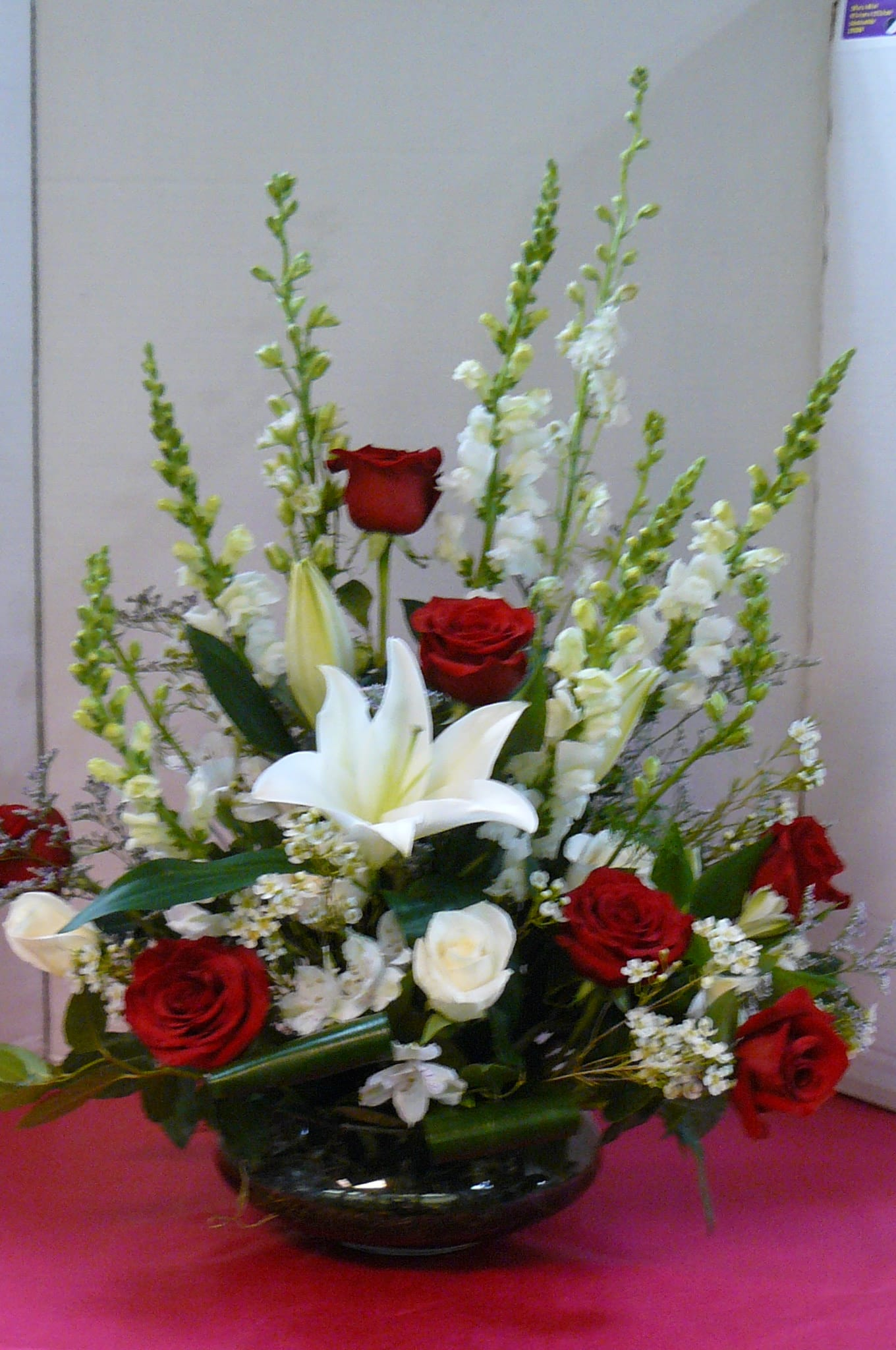 Red White Funeral Arrangement Picture Is Deluxe Arrangement In Bedminster Nj Blooms At The Hills Florist