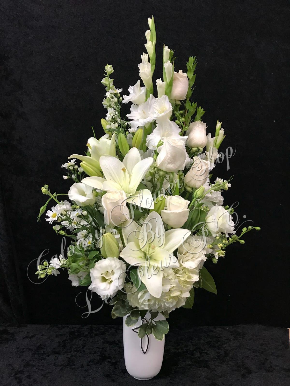 All White Sympathy Vase Arrangement In Los Angeles Ca Calvary Flower Shop