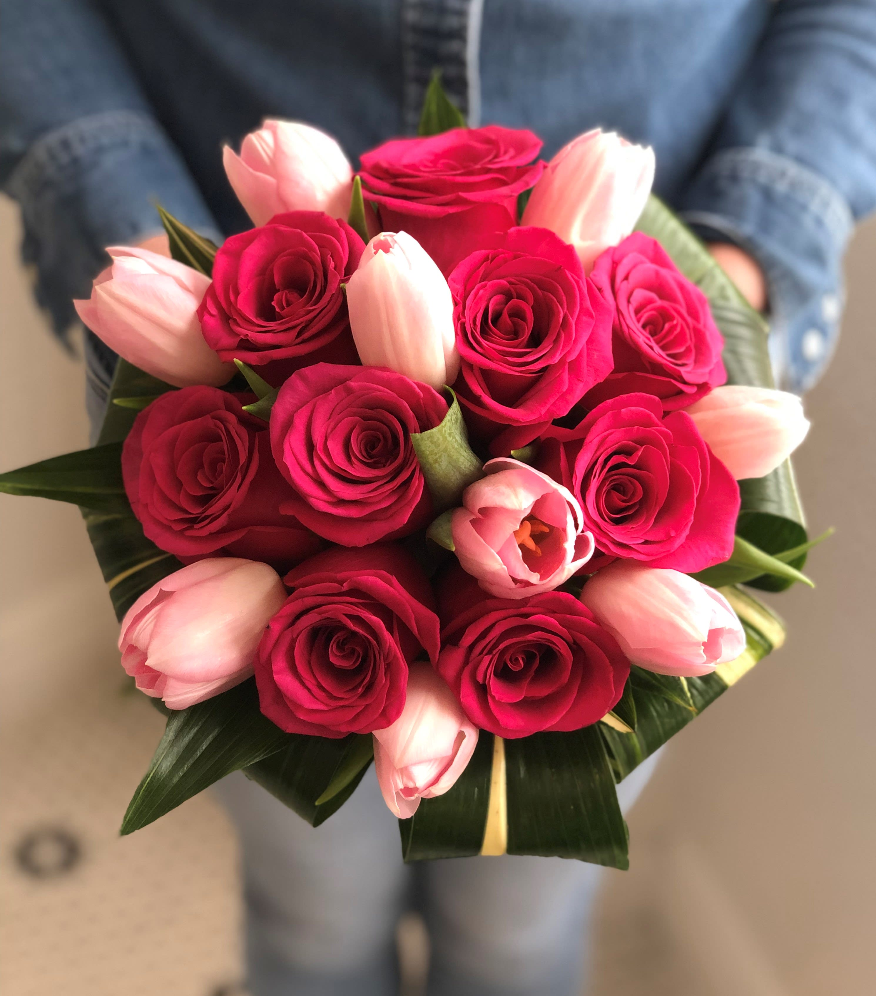 Roses And Tulips Hand Tied Bridal Bouquet By A Garden Floral