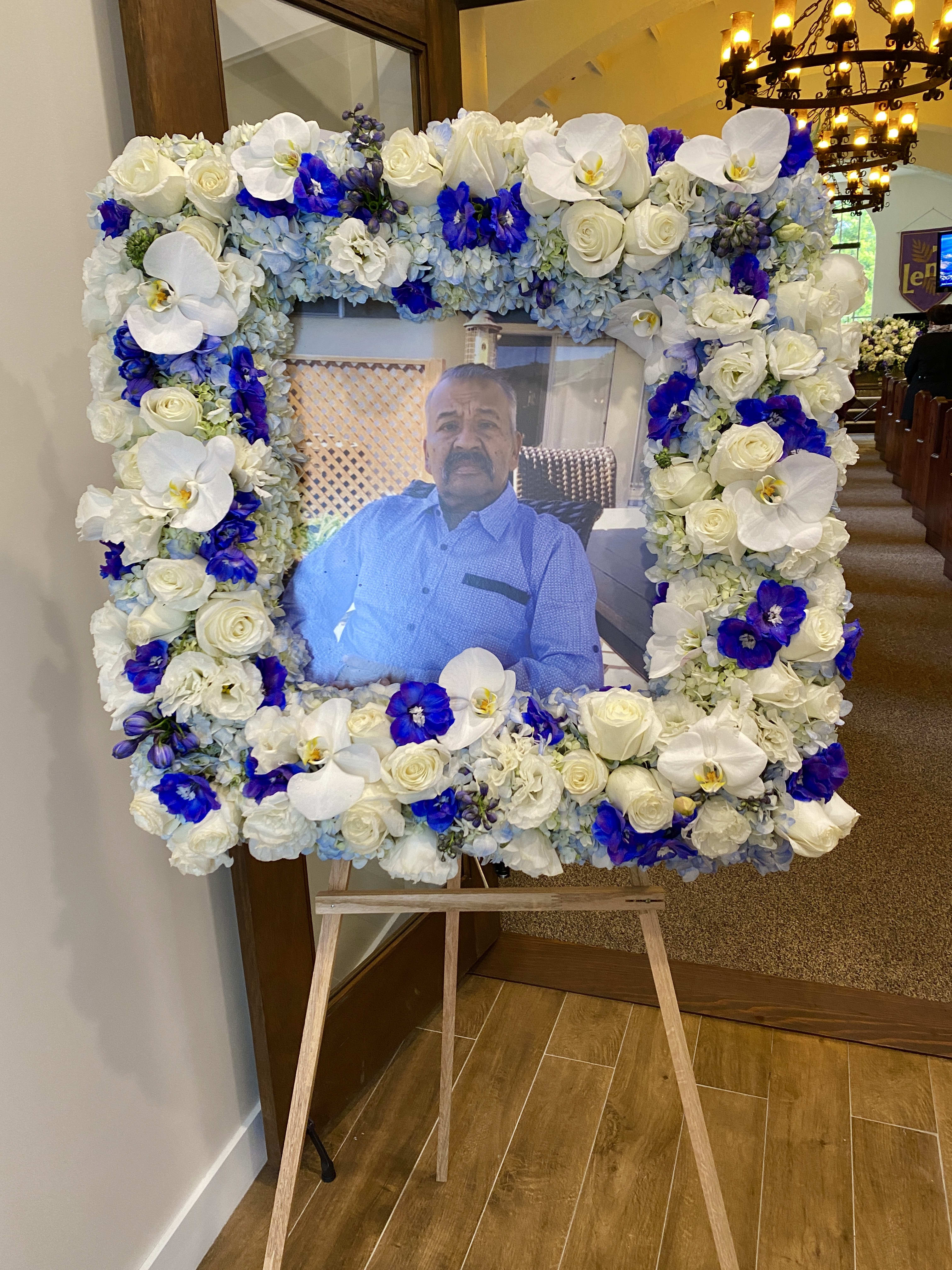 Sympathy Flower Frame Blue And White In Torrance Ca Andes Florist