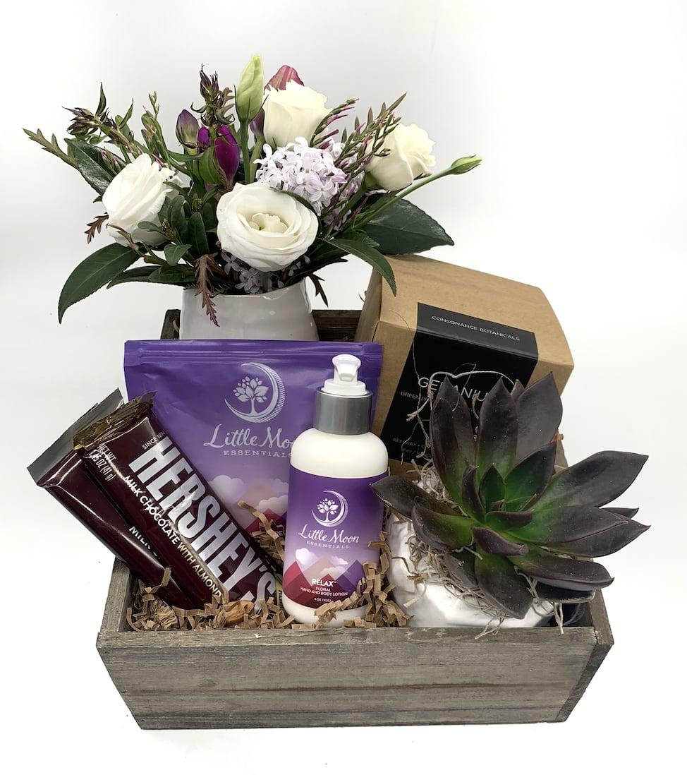 Relax And Rejuvenate Gift Basket In Denver Co Plum Sage Flowers