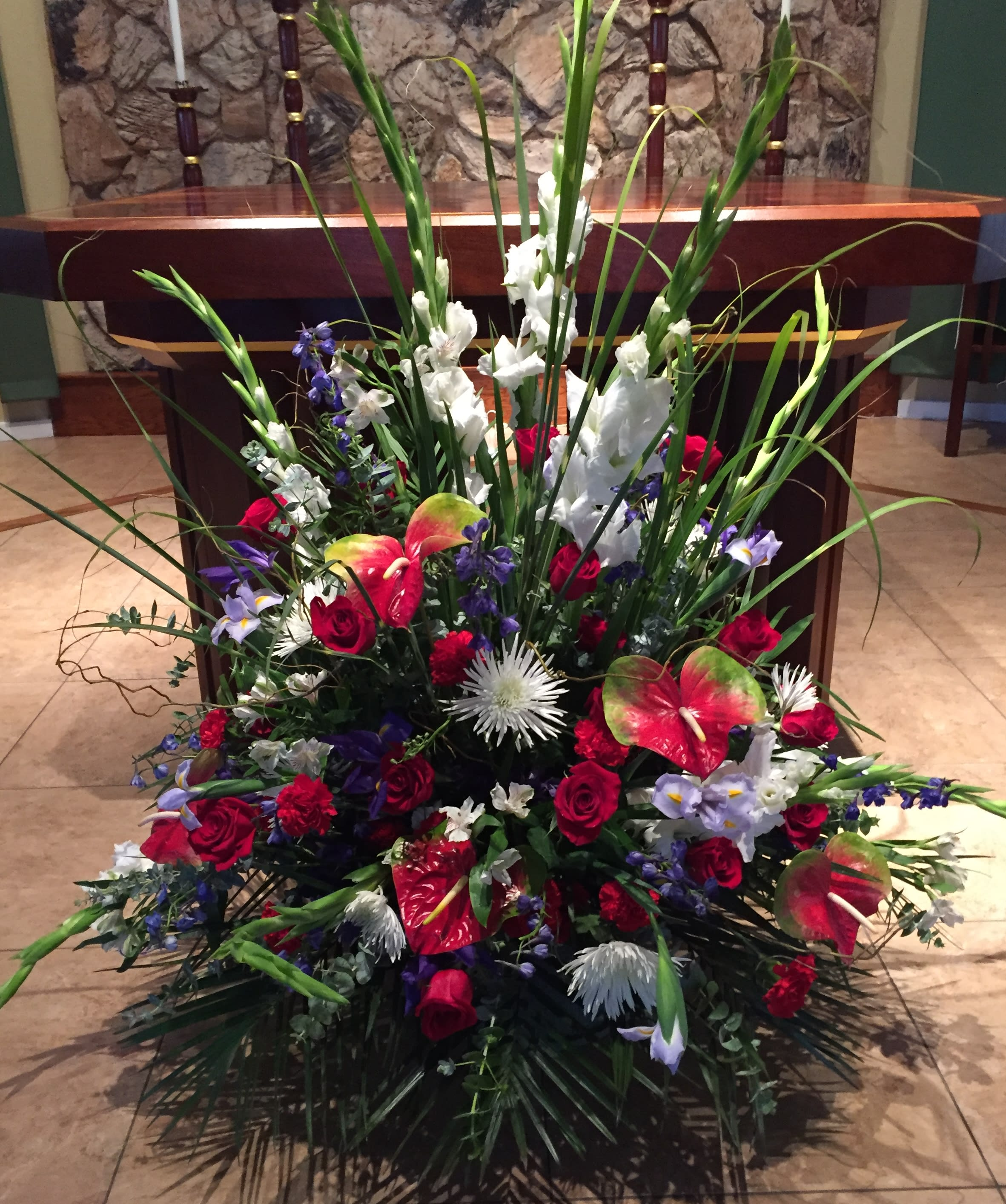 Large Red White Blue Altar Arrangement By Full Bloom
