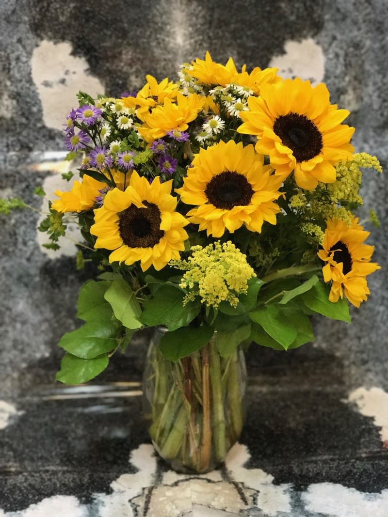 Sunflowers With Field Flowers By Victoria Park Flower Studio