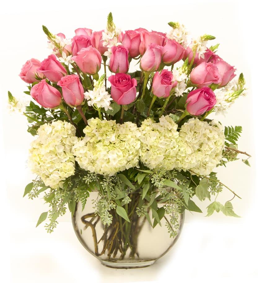 Pink Roses And White Hydrangeas In Alexandria Va Foxglove Flowers