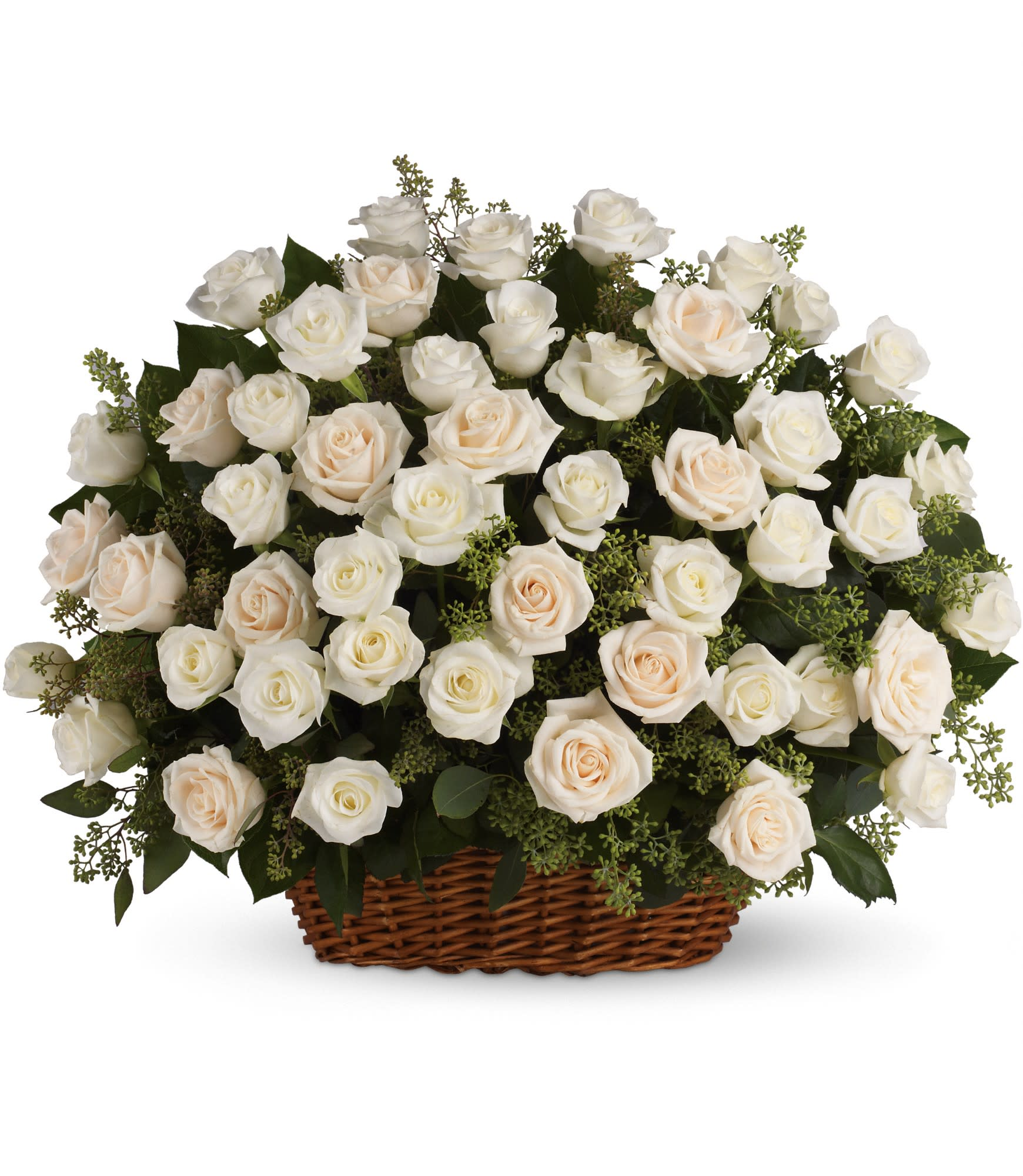Bountiful Rose Basket by Teleflora - A beautiful, bountiful basket of luminous white roses that feels so fresh, natural, and welcomed in a home or at a service.