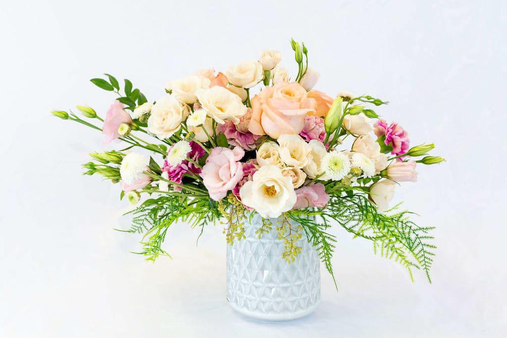 Elegant Fresh Flowers In A White Modern Vase In Byron Center Mi Tandem Studio