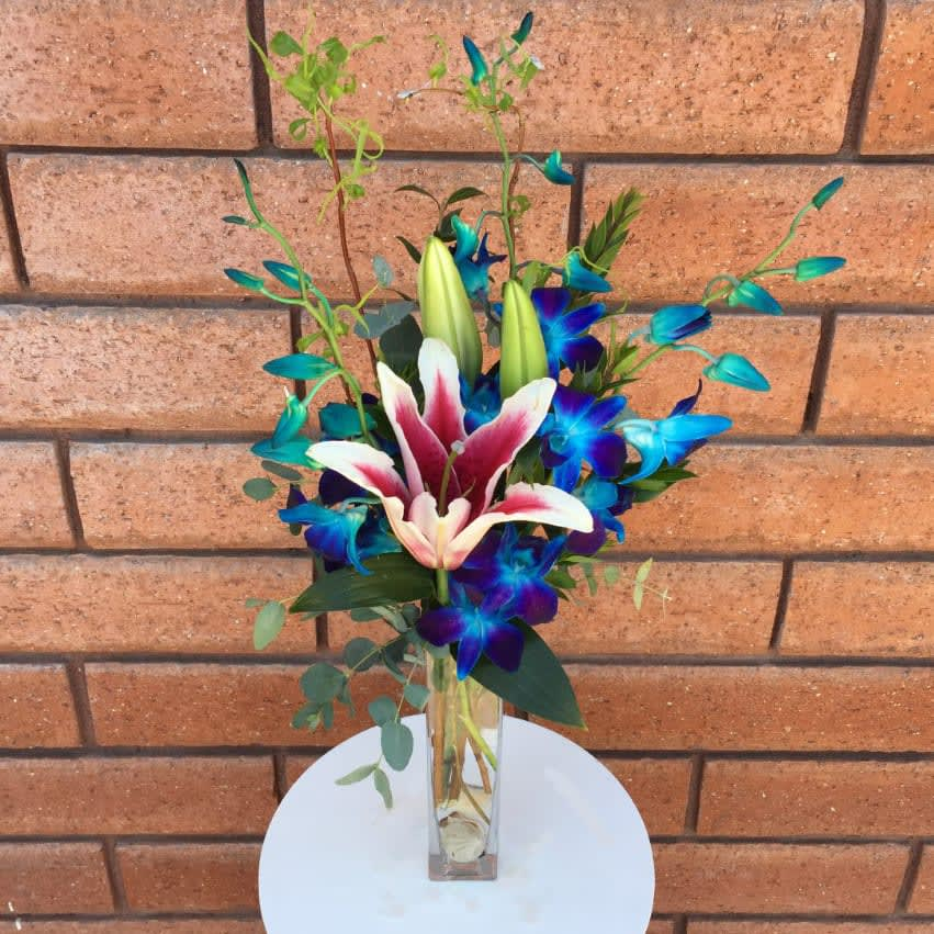 Blue Orchids And Stargazer Lily Vase By House Of Stemms