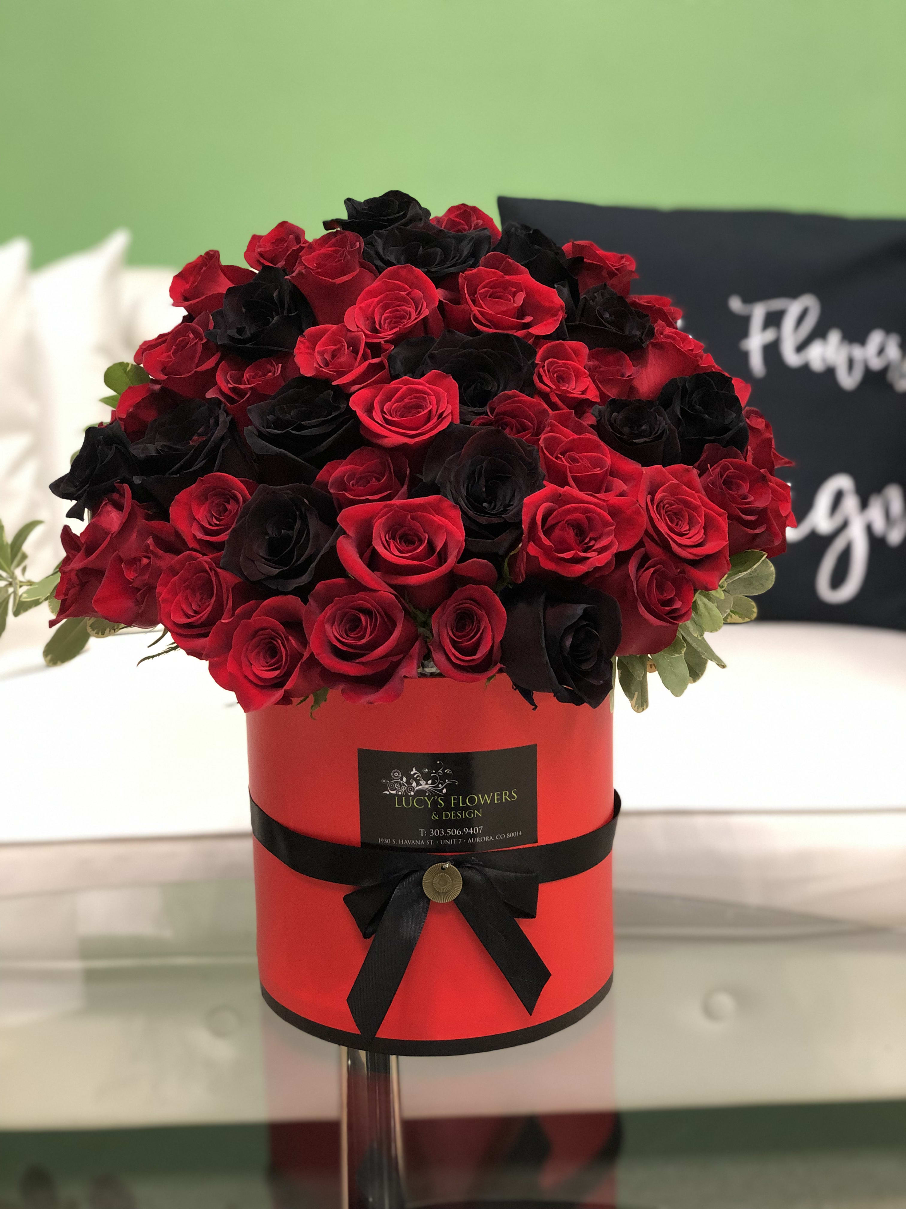 Black Red Signature Rose Box By Lucy S Flowers Design
