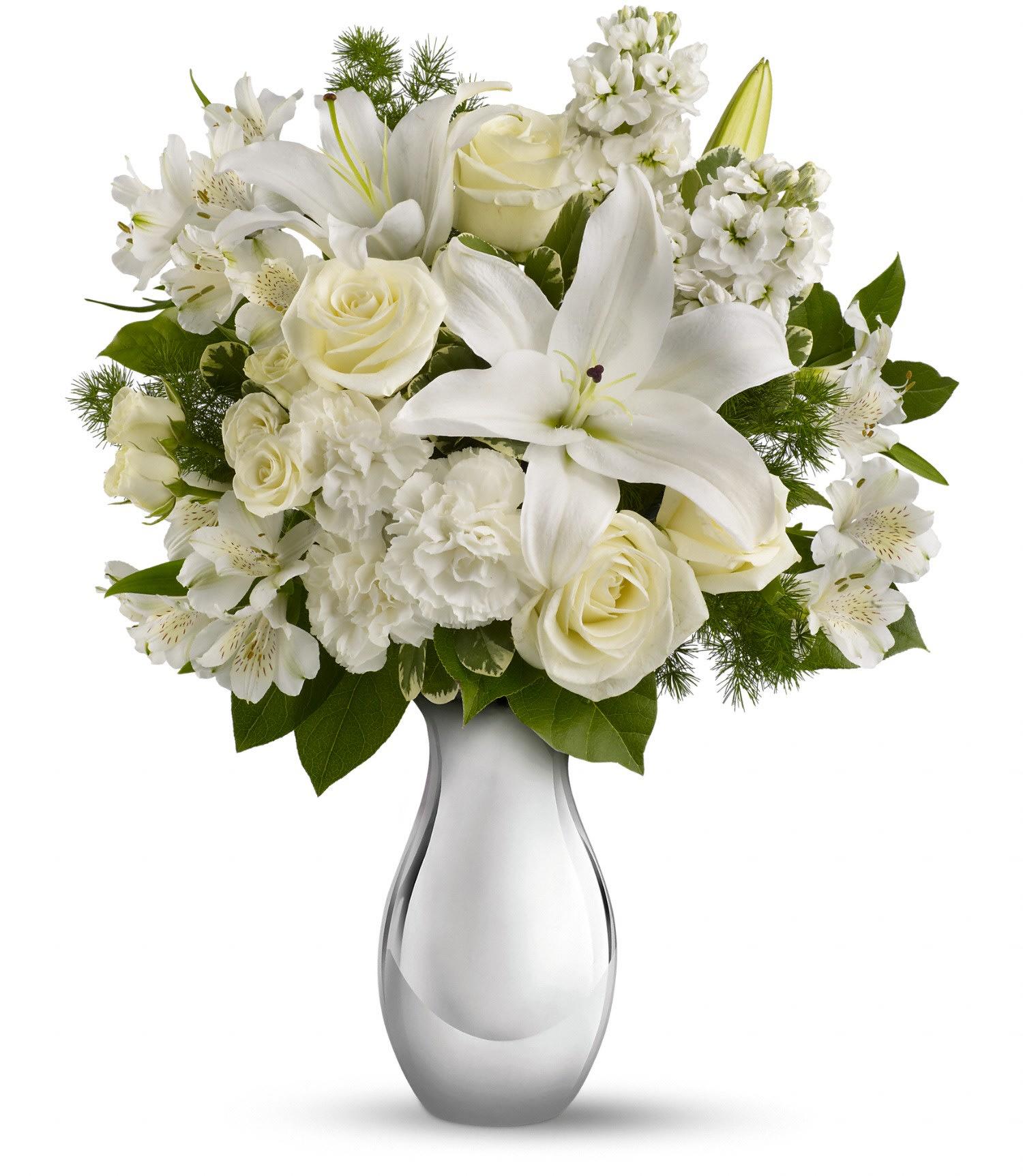 Teleflora S Shimmering White Bouquet In Centerville Ia The Flower Center