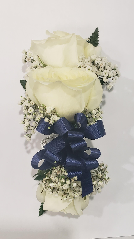 White Rose Wrist Corsage With Navy Blue Bow In Philadelphia Pa Philadelphia Flower Market
