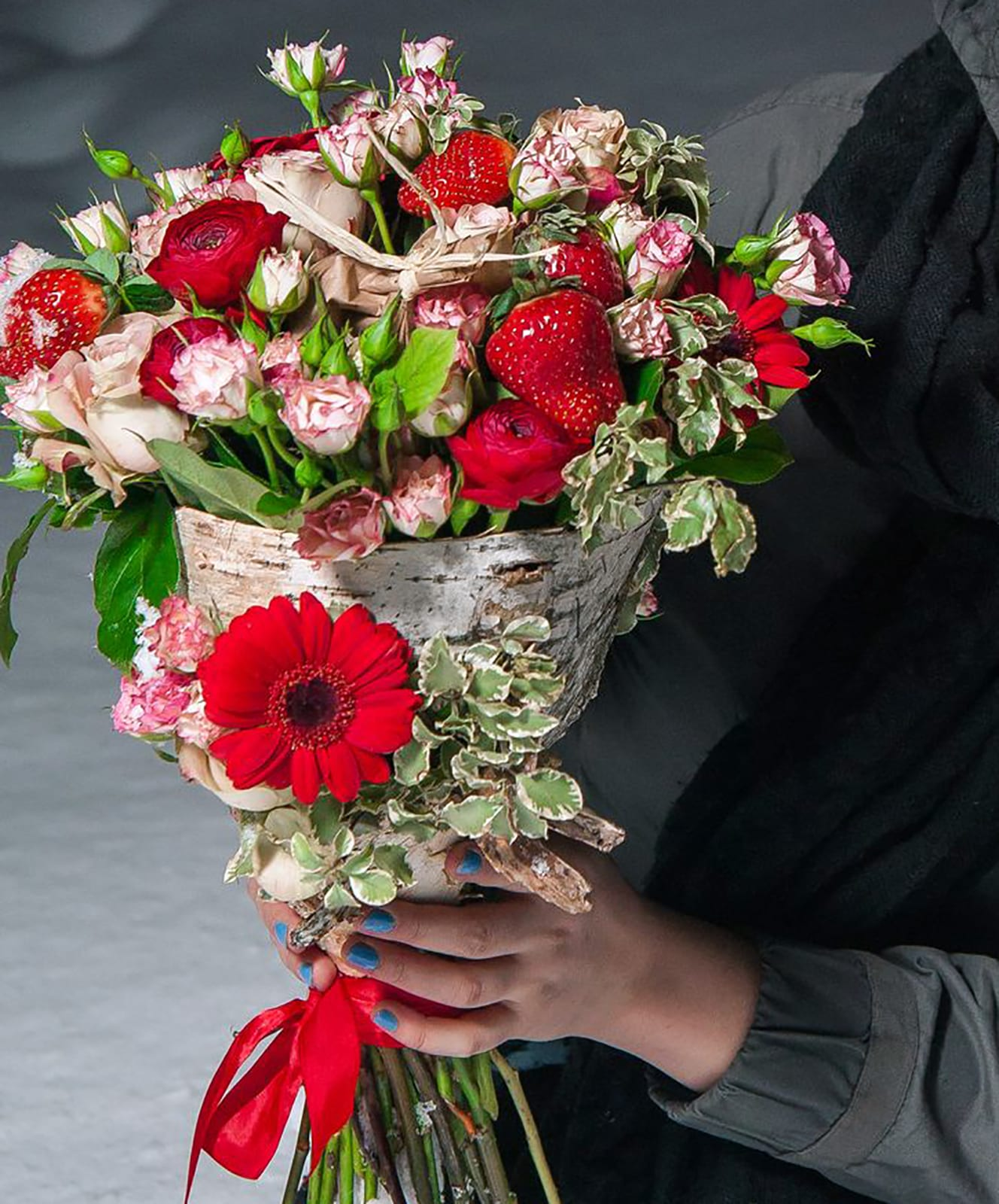 Incredible Hand Tied Bouquet With Real Strawberry In A Birch Bark By Garage Flowers