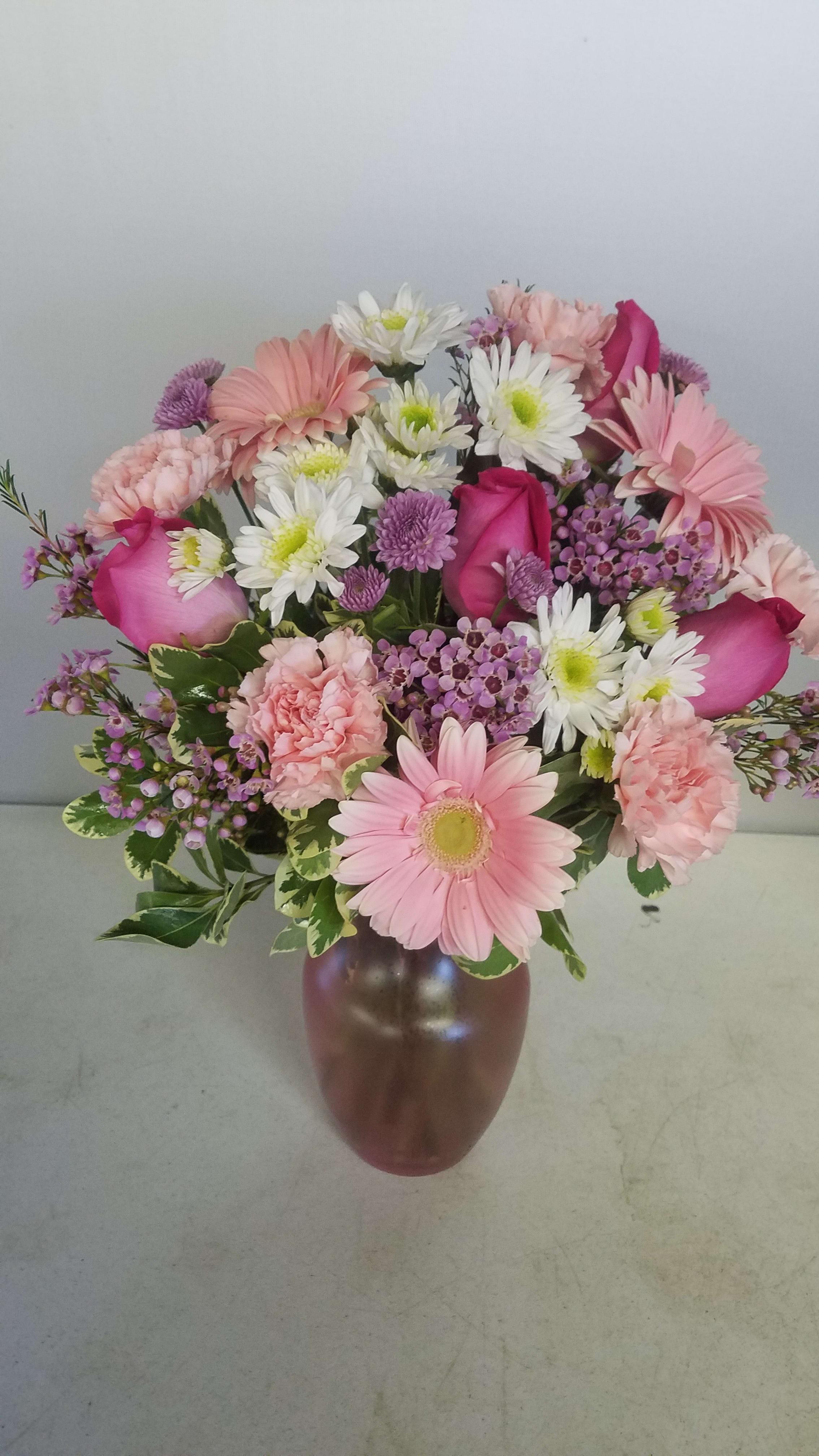 Pink White Lavender Vase Arrangement By Osterbrock Florist