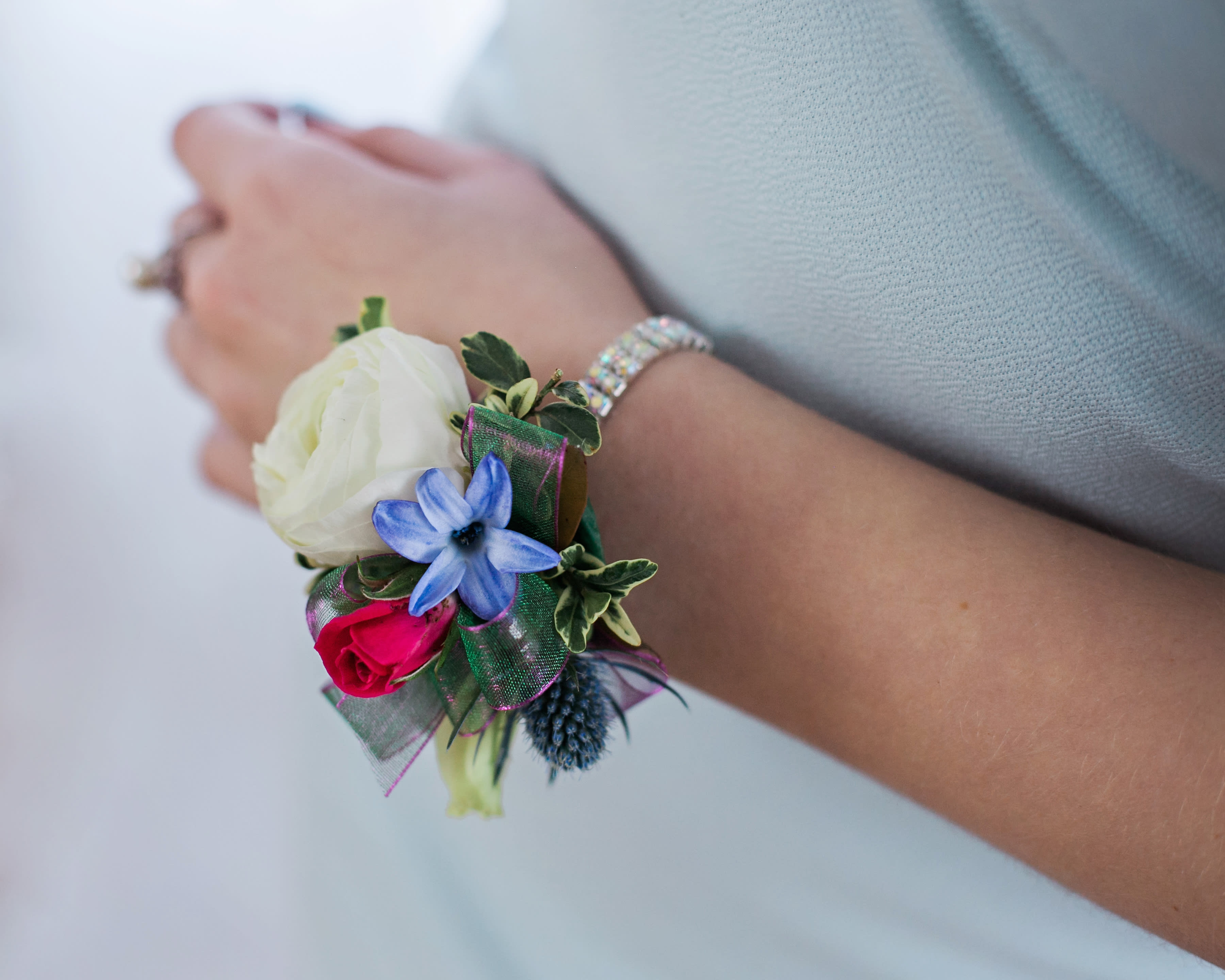 Rhinestone Corsage With Mixed Blooms Pick Up Only In Lebanon Oh Flowers From The Rafters