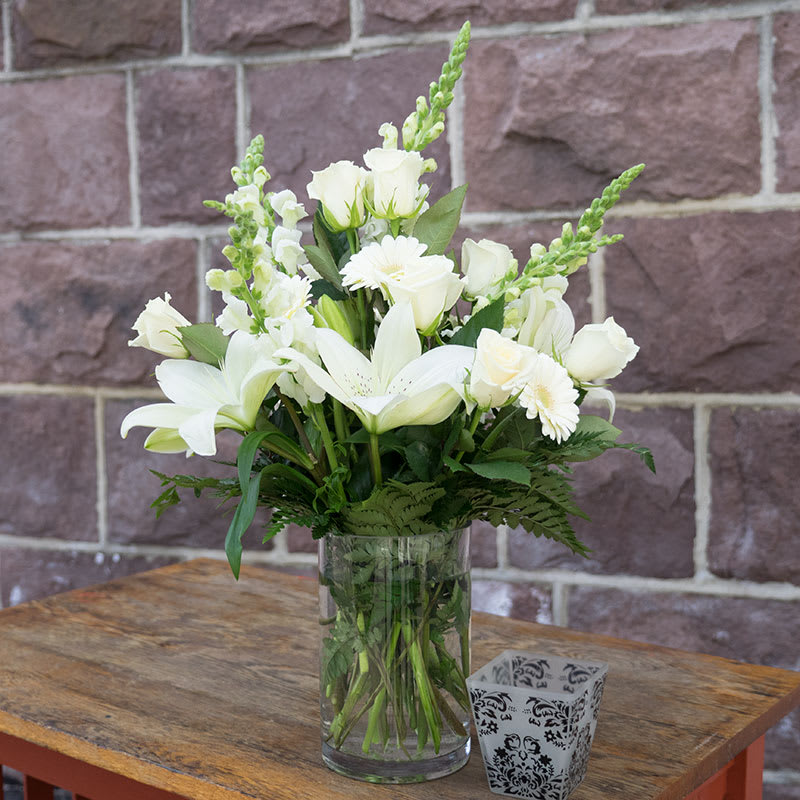 All White Arrangement In A Vase By Bristol Florists
