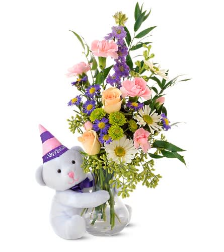Teleflora S Party Bear In Smithfield Ri Simply Elegant Flowers
