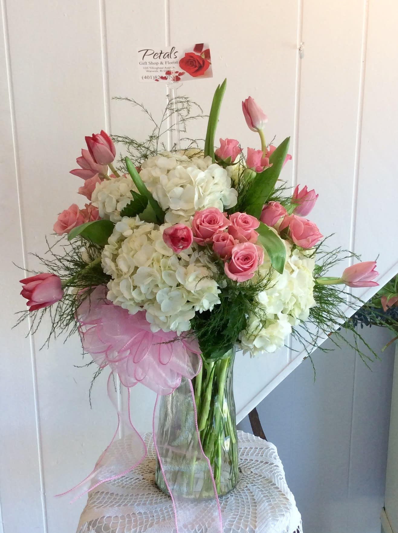 Pretty As A Picture Pink Spray Roses And White Hydrangeas In Warwick Ri Petals Florist Gift Shop