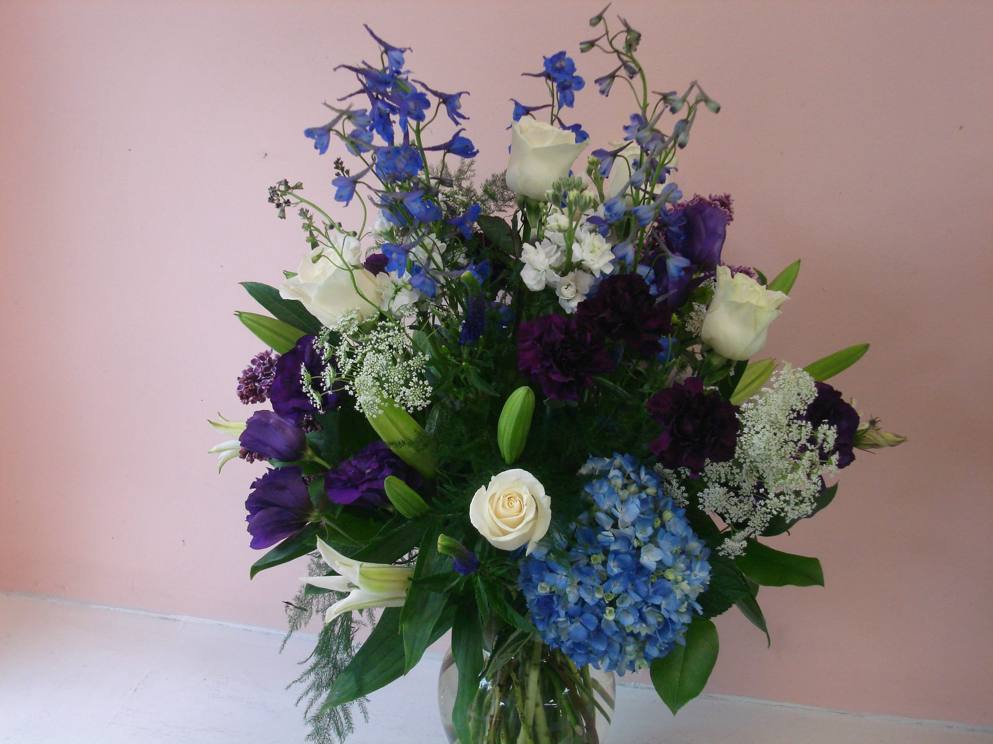 Pretty In Blue Flower Arrangement With Blue Hydrangea Blue Bella Donna Purple Lisianthus And More By Fillmore Florist San Francisco