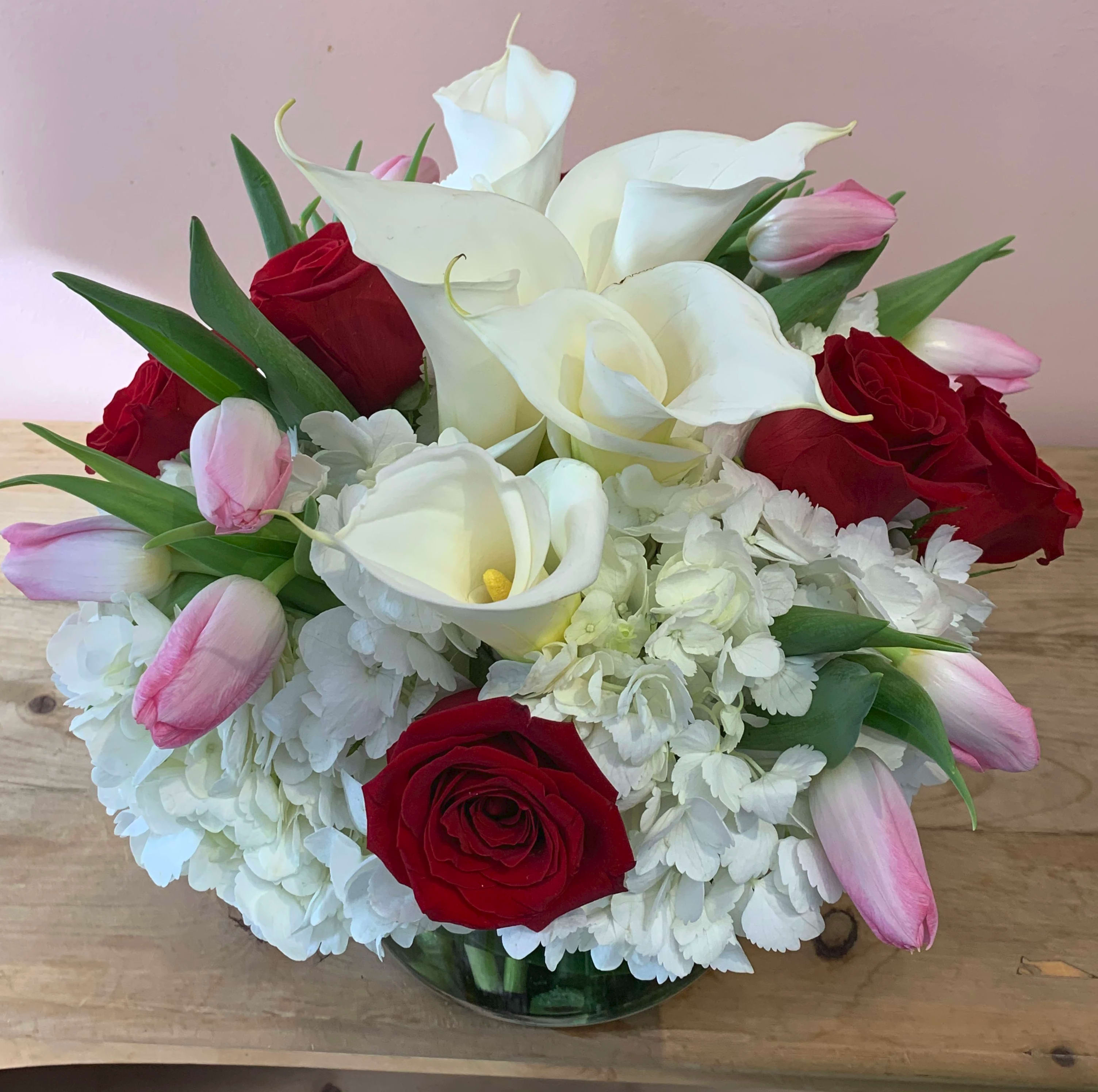 New Year Flowers- White Tulips with Red Roses