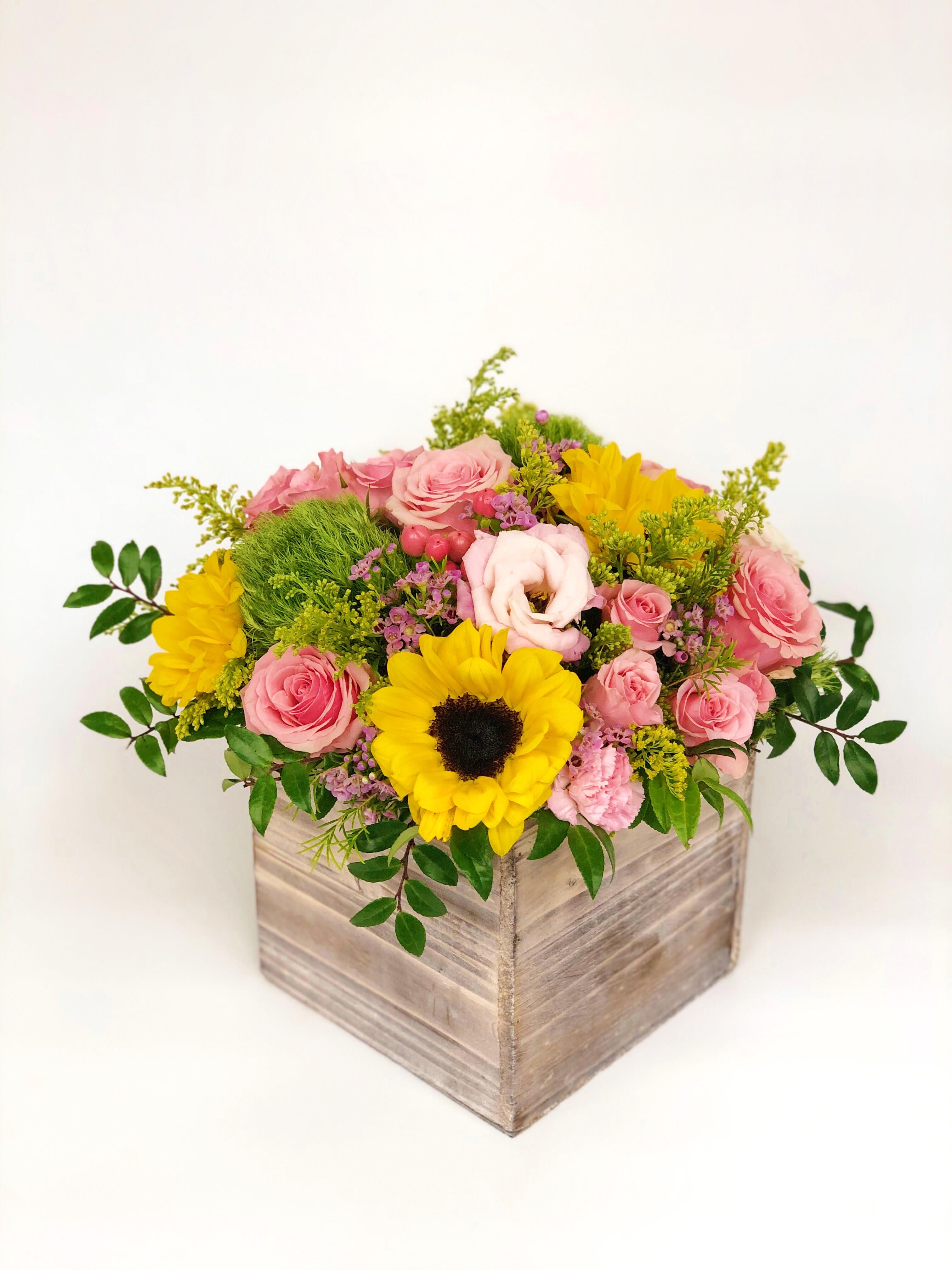 23 Wood Box Arrangement Bright Large By K K Flowers