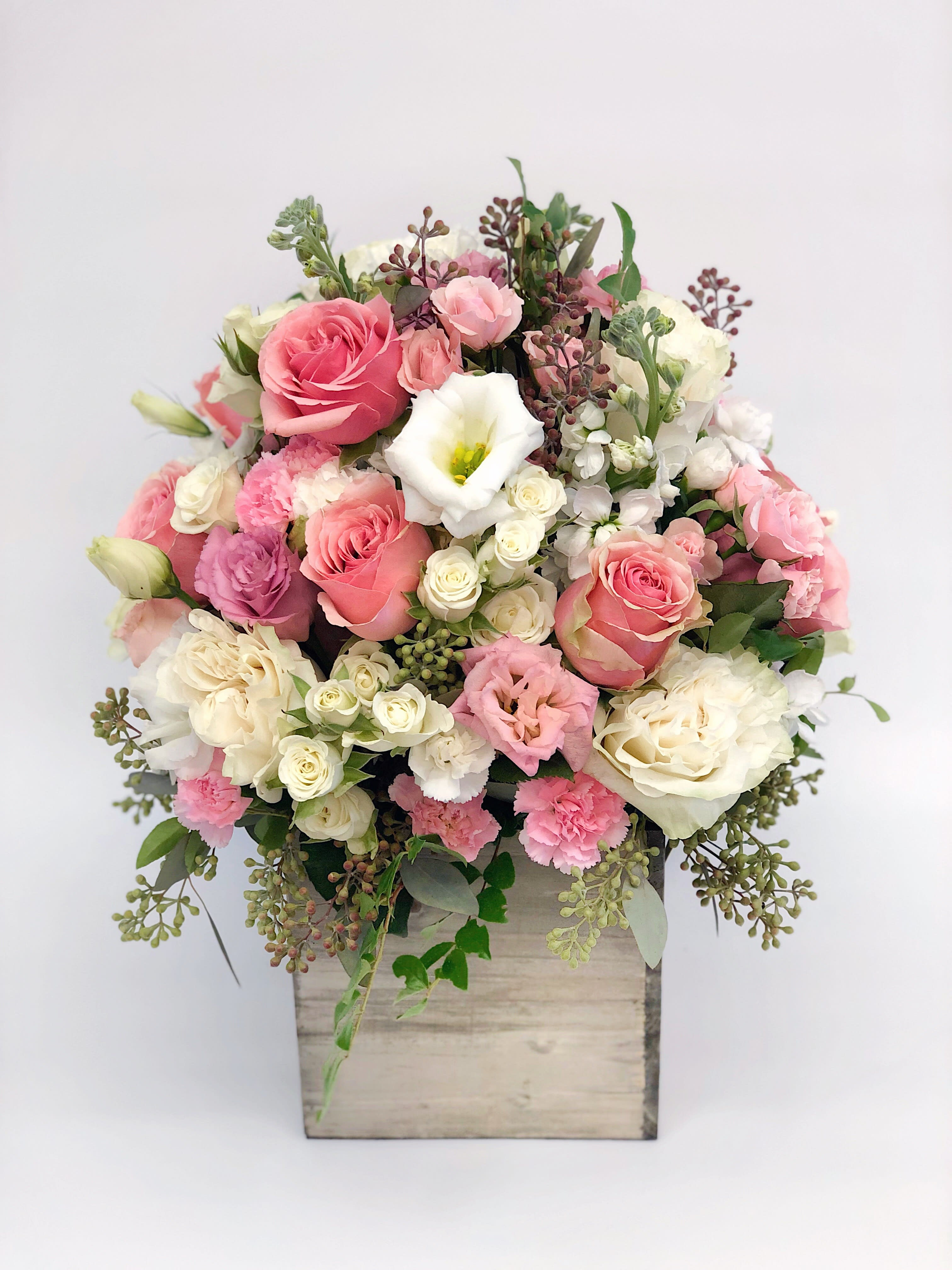 12 Tall Wood Box Arrangement Pink White By K K Flowers