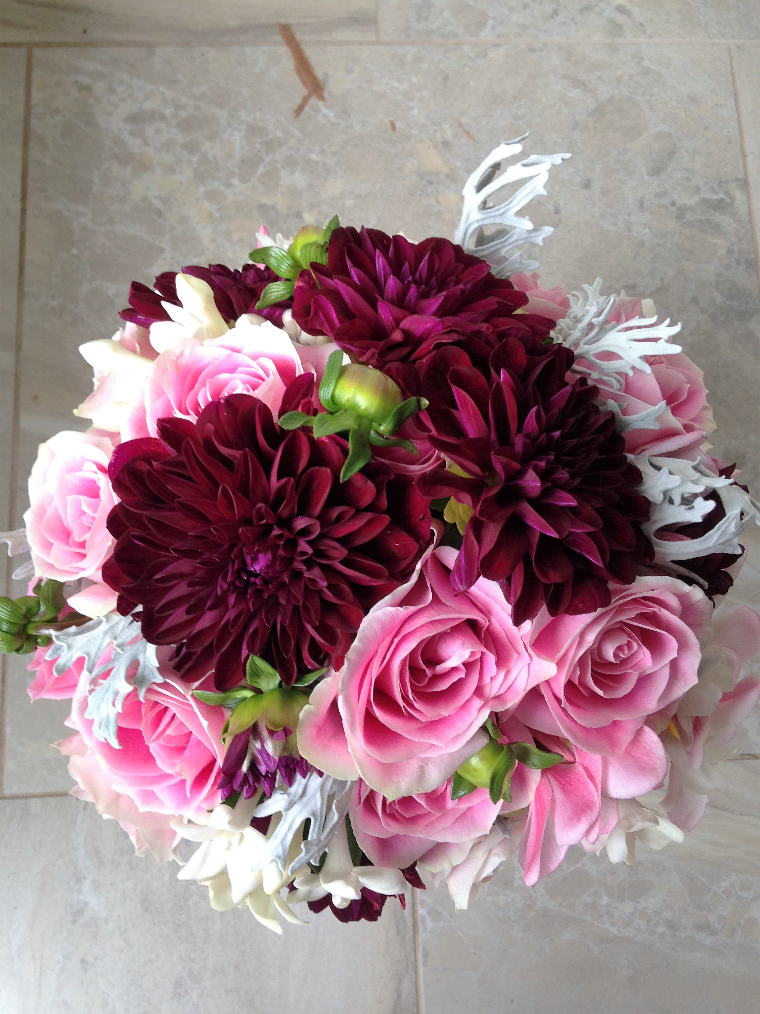 Dahlia And Roses Hand Tie Bouquet By W L Designs