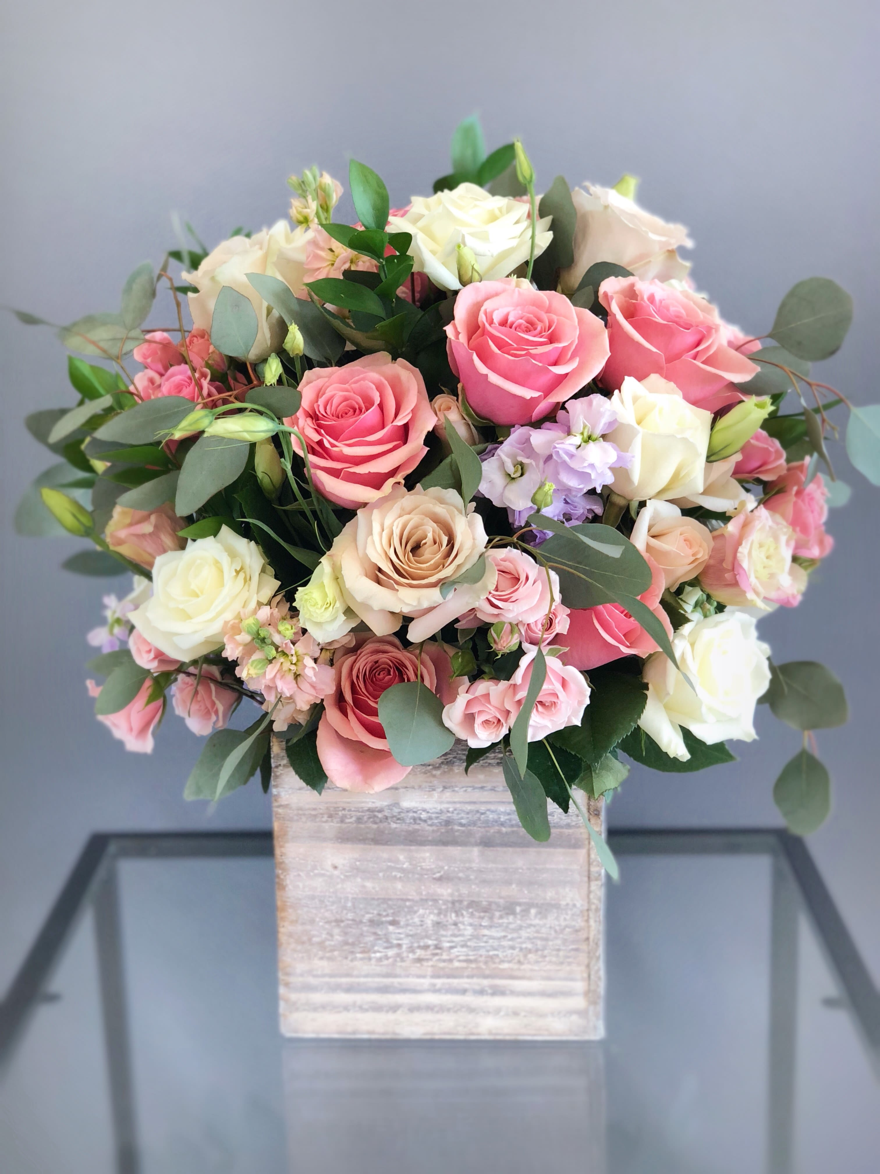 14 Tall Wood Box Arrangement Pink White In Oxnard Ca Flowers By Paulann