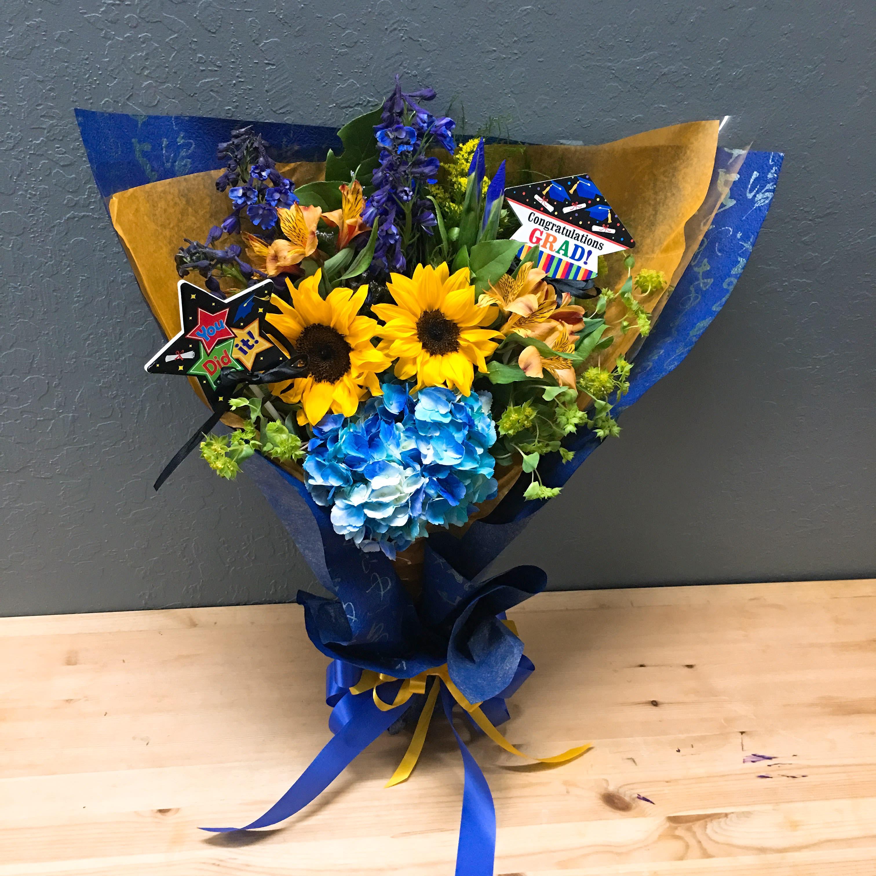 Blue Gold Wrapped Bouquet By La Floriya