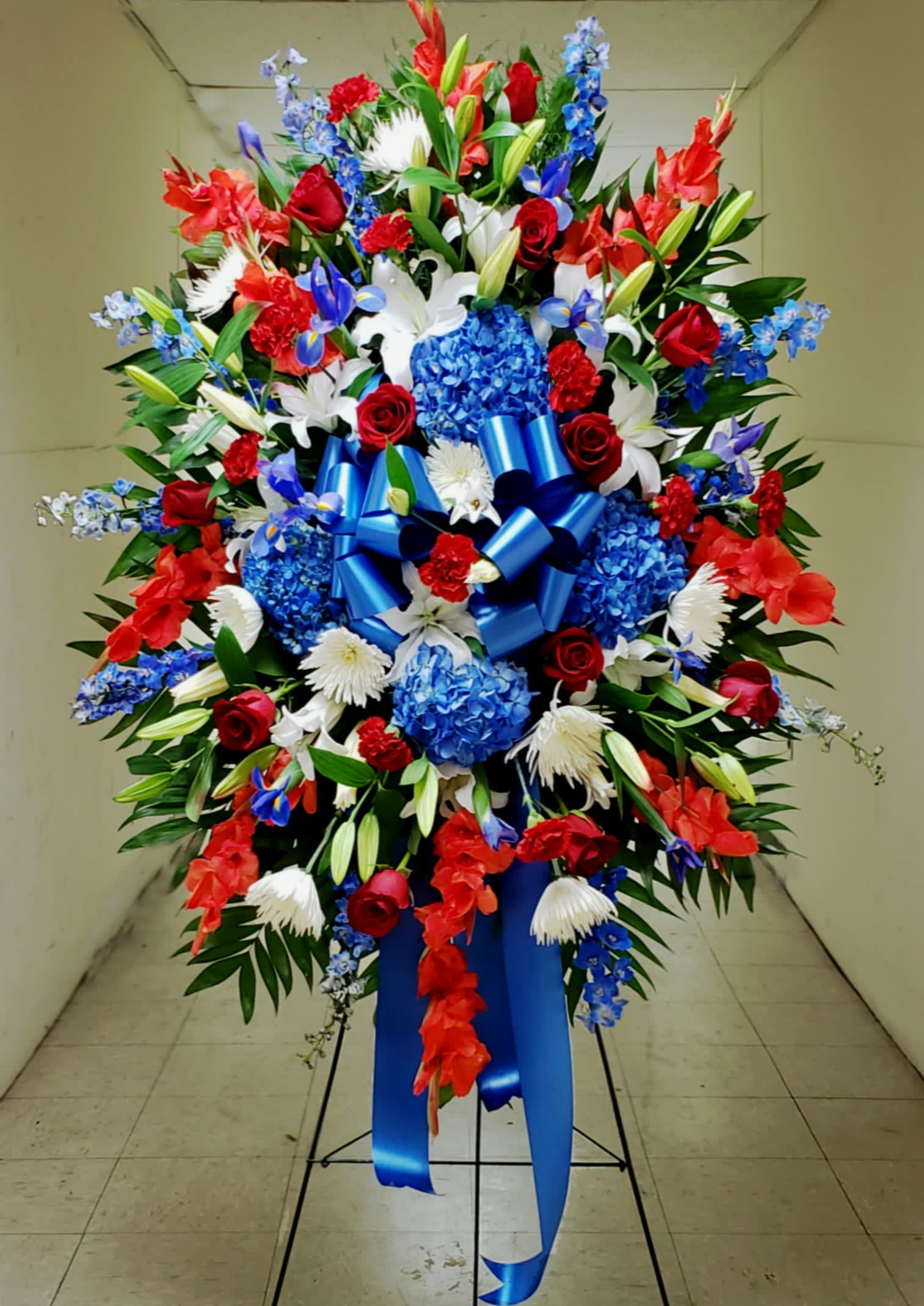 Full Honors Standing Spray In Arlington Va Arlington Cemetery Flowers By Twin Towers Florist