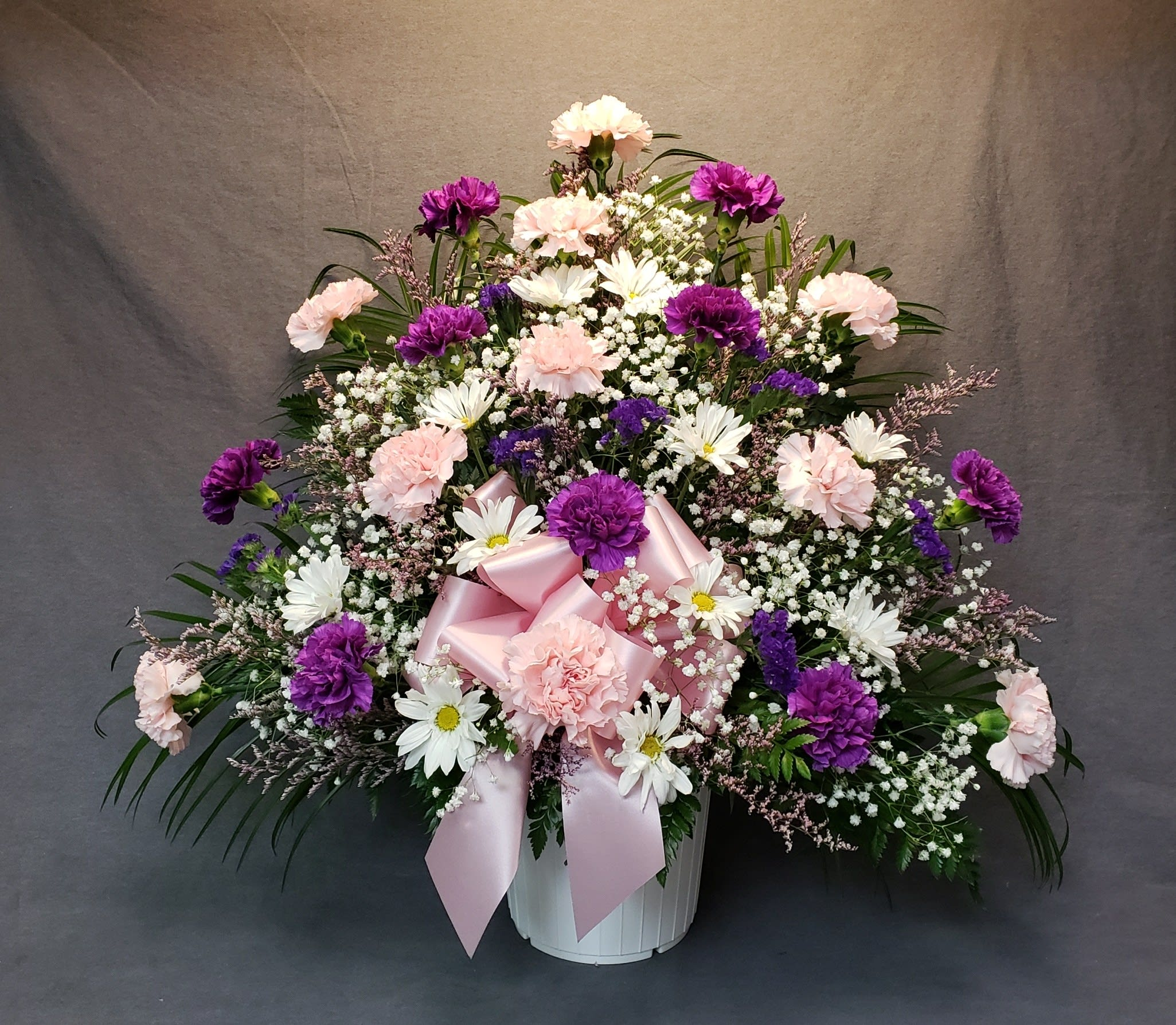 Purple Pink White Funeral Arrangement By A M Floral Express