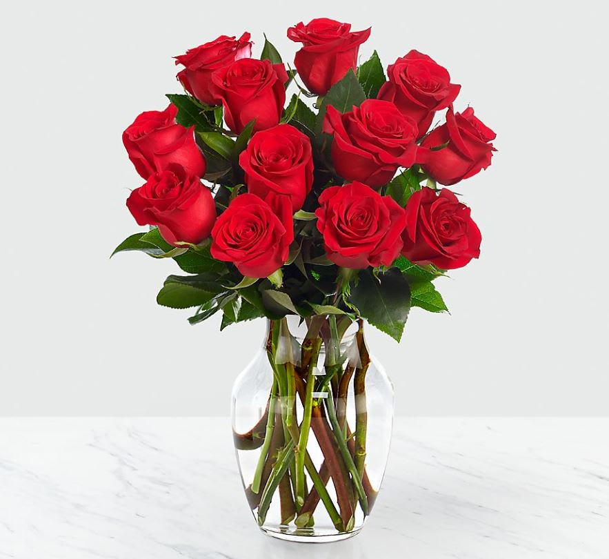 12 Red Roses With Glass Vase In Santa Rosa Ca Bevess Floral