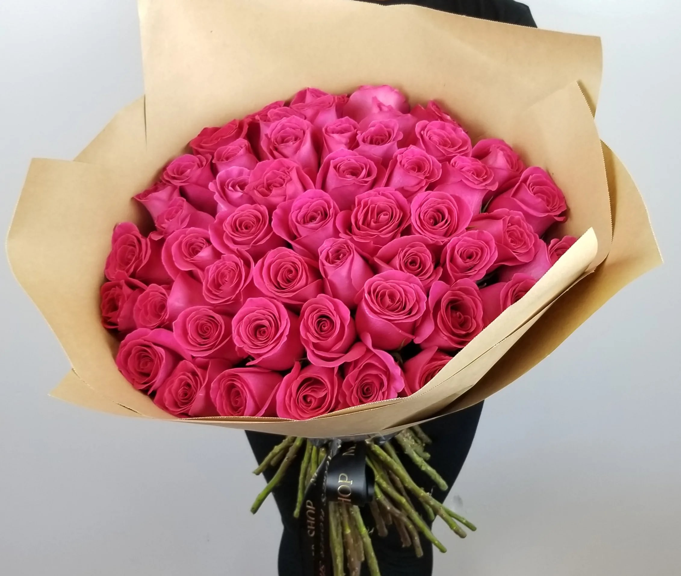 Valentine S Day Hot Pink 50 Rose Bouquet In Maywood Ca Maggie S Flower Shop