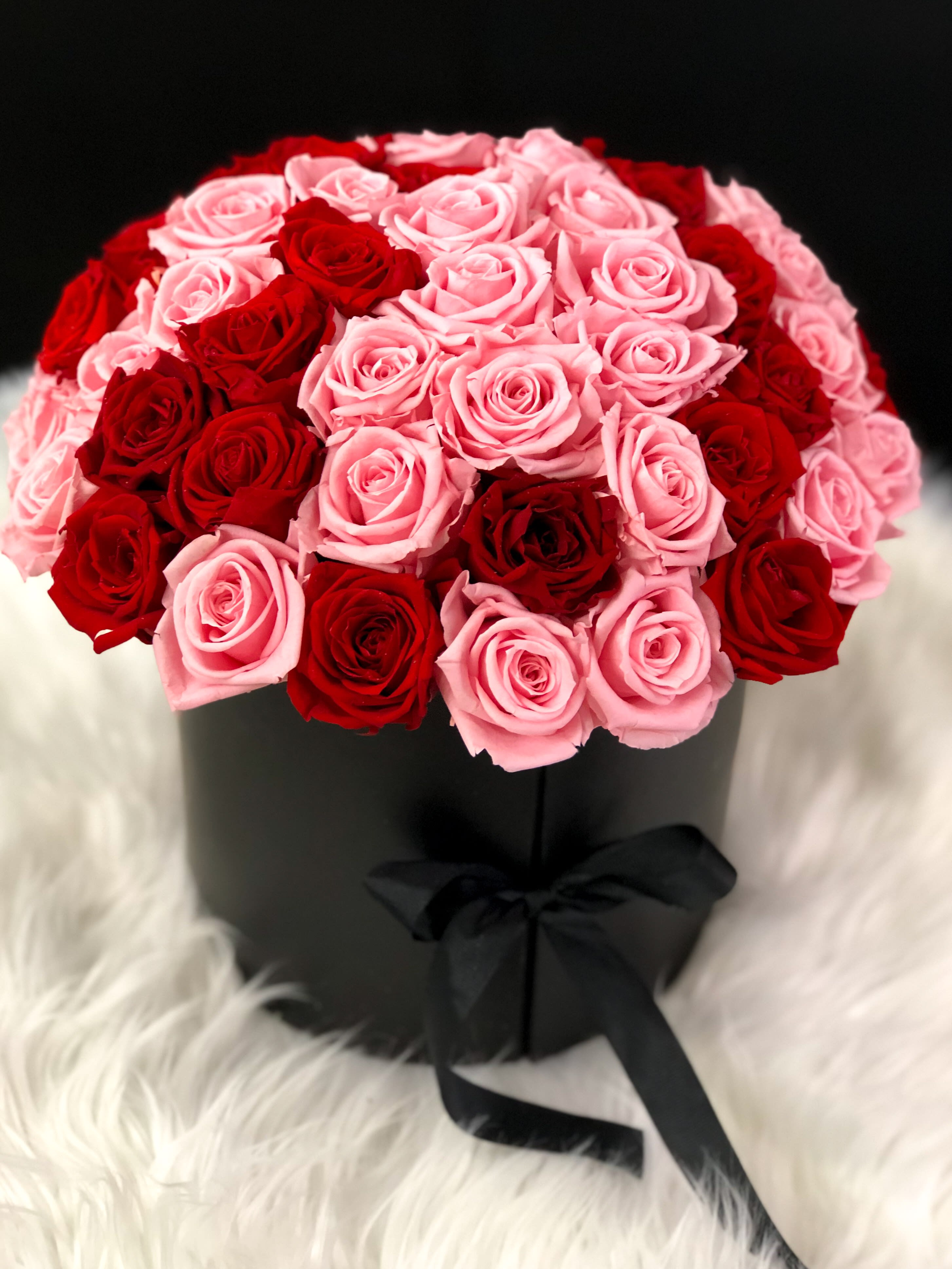 Large Flower Box with Preserved Roses by Luxury Flowers Miami